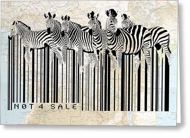 Zebras Greeting Cards - Zebra barcode Greeting Card by Sassan Filsoof