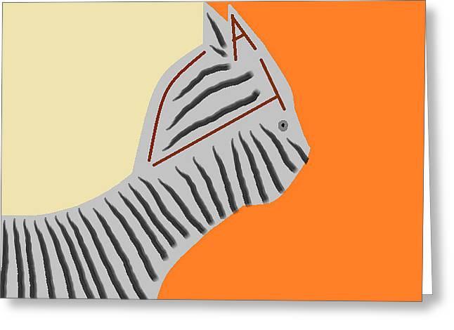 Zebra Cat Greeting Card by Anita Dale Livaditis