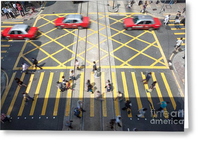 Zebra Crossing - Hong Kong Greeting Card by Matteo Colombo