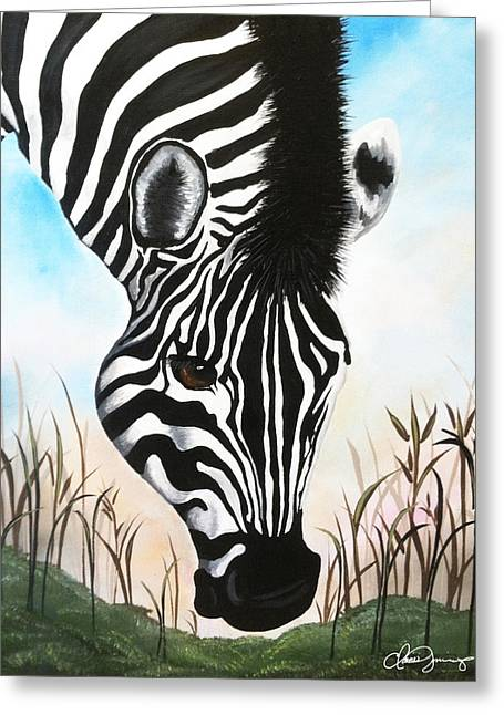 Picture Of Zebra Grazing. Greeting Cards - Zebra Greeting Card by Danise Abbott