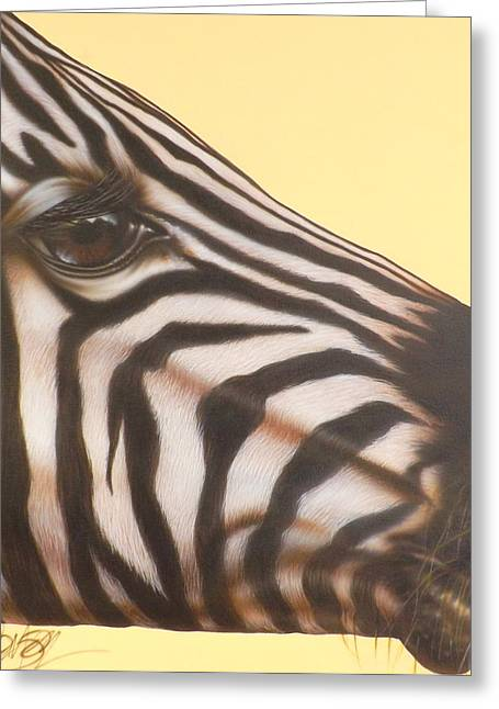Darren Greeting Cards - Zebra Greeting Card by Darren Robinson