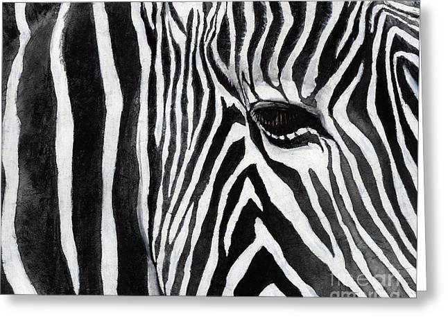 Zebra Face Greeting Cards - Zebra Eye Greeting Card by Hailey E Herrera