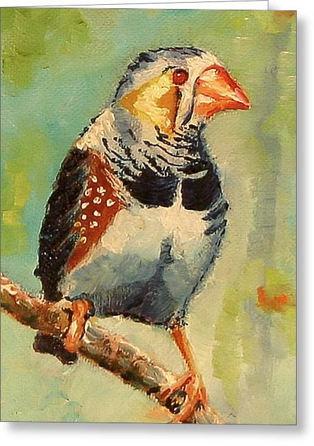 Zebra Finch Greeting Cards - Zebra Finch Greeting Card by Carol Jo Smidt