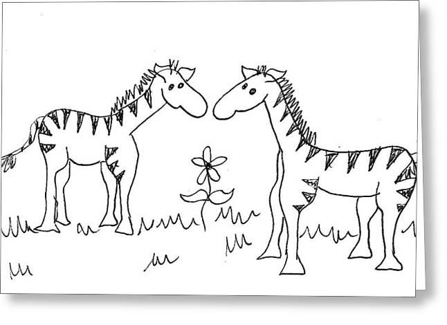 Cherie Sexsmith Greeting Cards - Zebra Friends Greeting Card by Cherie Sexsmith