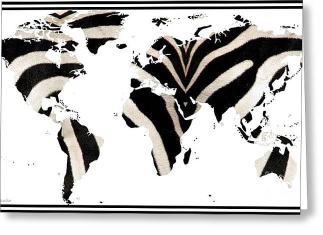 World Map Print Photographs Greeting Cards - Zebra Fur World Map Greeting Card by Rose Santuci-Sofranko