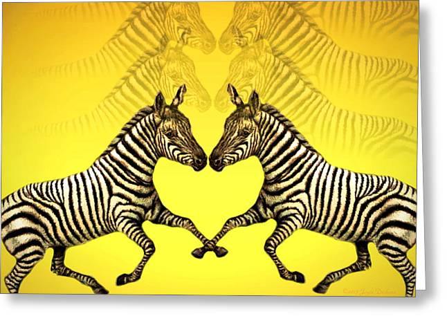 Numbers Plus Photography Digital Greeting Cards - Zebra Heart Greeting Card by Joyce Dickens