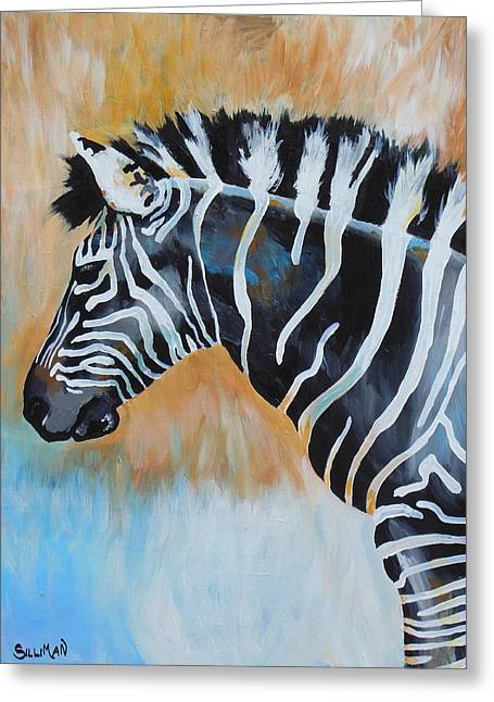 Zebra In Acrylic Greeting Cards - Zebra I Greeting Card by Veronica Silliman