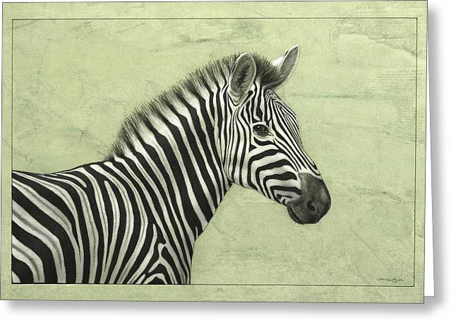 Striped Drawings Greeting Cards - Zebra Greeting Card by James W Johnson
