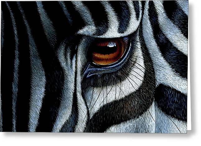 Eyes Paintings Greeting Cards - Zebra Greeting Card by Jurek Zamoyski