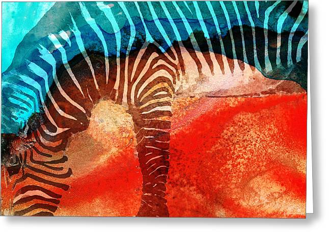 Zebra Love - Art By Sharon Cummings Greeting Card by Sharon Cummings