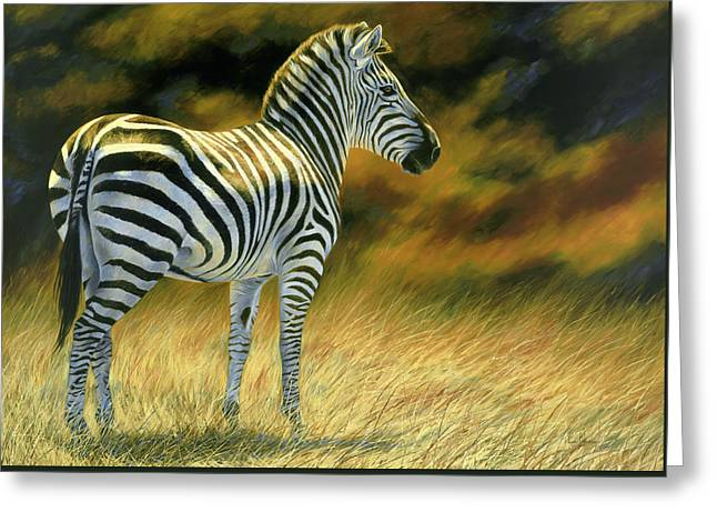 Zebras Greeting Cards - Zebra Greeting Card by Lucie Bilodeau