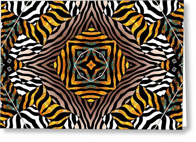 Prints Of Zebras Greeting Cards - Zebra Mandala Greeting Card by Joseph J Stevens