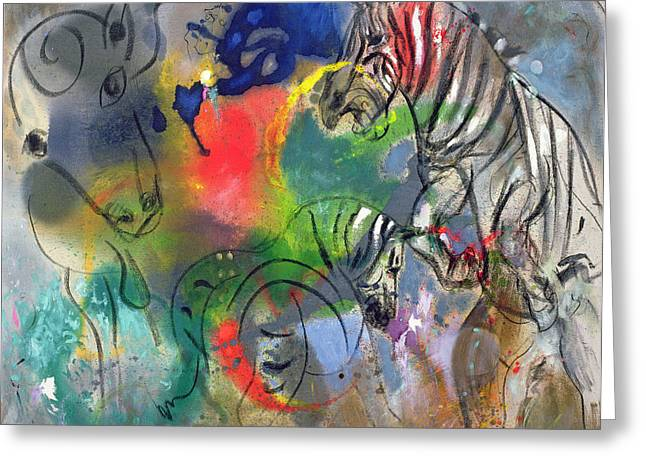 Grey Background Greeting Cards - Zebra Mares Greeting Card by Jane Deakin