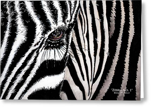 Technical Paintings Greeting Cards - Zebra No. 1 Greeting Card by Brian Murphy