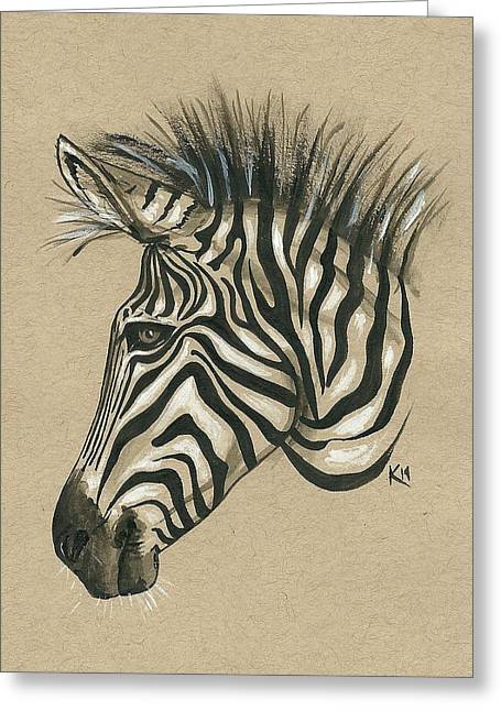 Jensen Greeting Cards - Zebra Profile Greeting Card by Konni Jensen