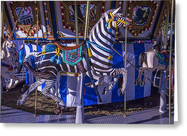 Amusements Greeting Cards - Zebra Ride Greeting Card by Garry Gay