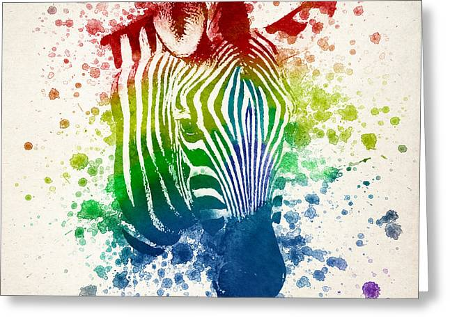 Zebra Greeting Cards - Zebra Splash Greeting Card by Aged Pixel
