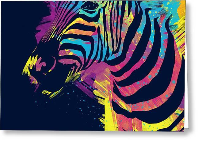 Zebra Splatters Greeting Card by Olga Shvartsur