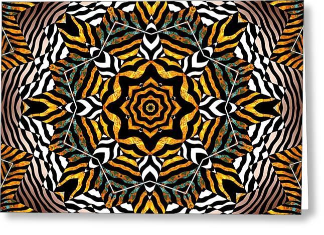 Zebra Star Mandala Greeting Card by Joseph J Stevens