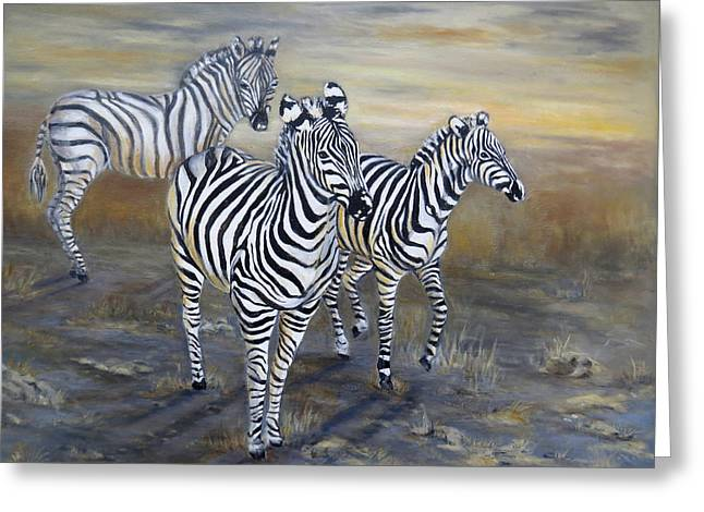 Zebra Greeting Cards Greeting Cards - Zebra striped trio Greeting Card by Laurine Baumgart