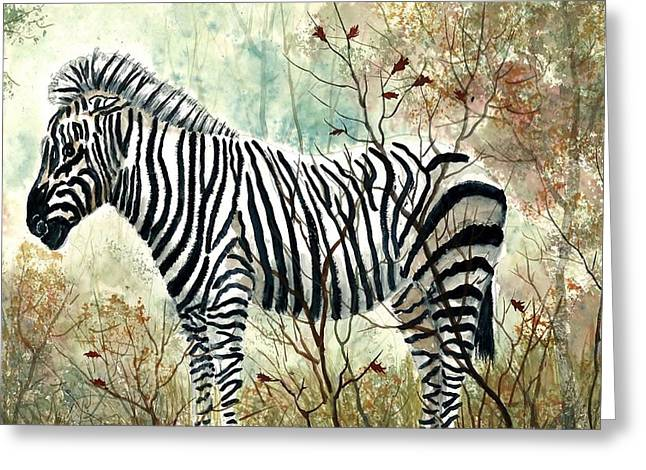 Zebra Study Greeting Card by Steven Schultz