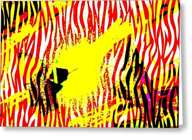 Prints Of Zebras Greeting Cards - Zebra Yellow Greeting Card by Caroline Gilmore
