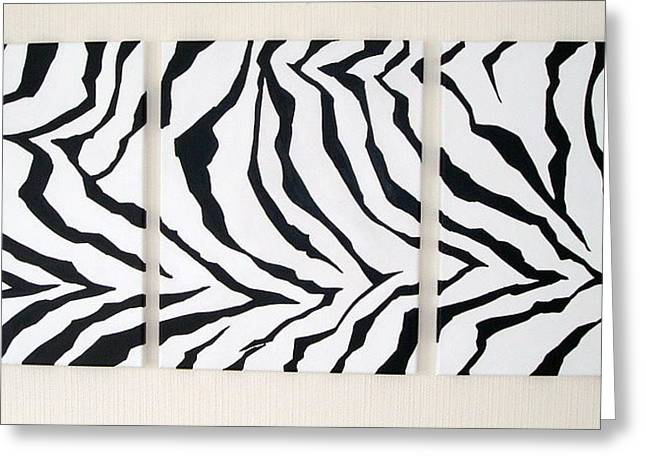 Prints Of Zebras Greeting Cards - Zebrafied Animal Afrian Art Triptych Greeting Card by Stuart Wright