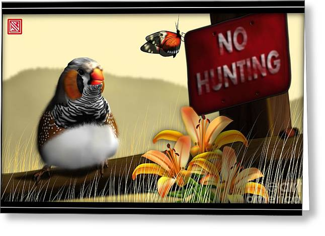 Zebra Finch Greeting Cards - Zebrafinch with tiger lillies Greeting Card by John Wills