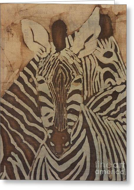 Caroline Street Greeting Cards - Zebras Batik Greeting Card by Caroline Street