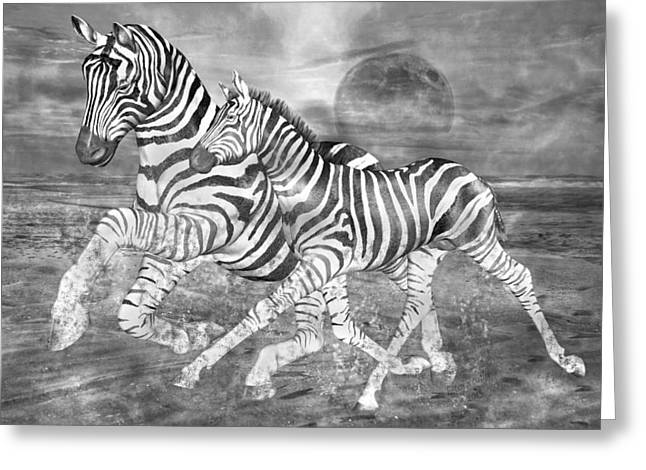 Moon Beach Mixed Media Greeting Cards - Zebras I of II Greeting Card by Betsy A  Cutler