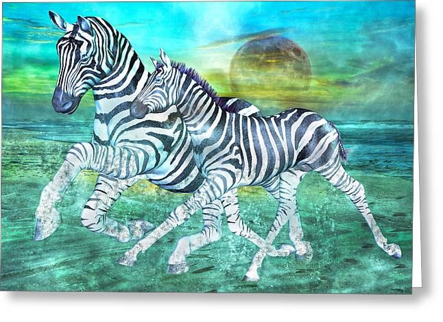 Moon Beach Mixed Media Greeting Cards - Zebras II of II Greeting Card by Betsy A  Cutler