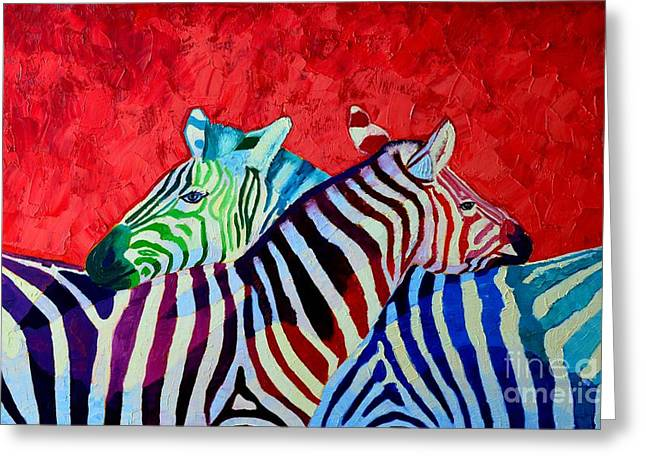 Animals Love Greeting Cards - Zebras In Love  Greeting Card by Ana Maria Edulescu
