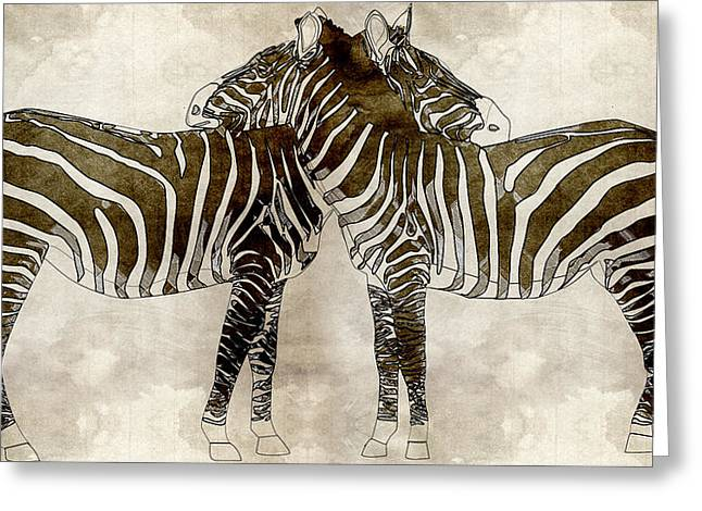Reserve Paintings Greeting Cards - Zebras In Love Greeting Card by Celestial Images