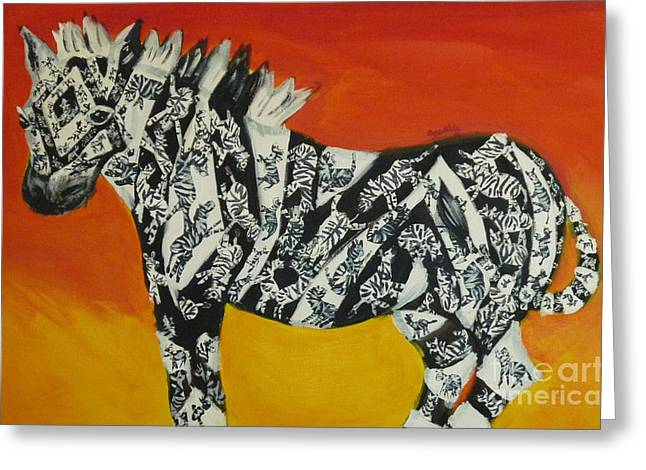 Repetition Paintings Greeting Cards - Zebras in Stripes Greeting Card by Cassandra Buckley