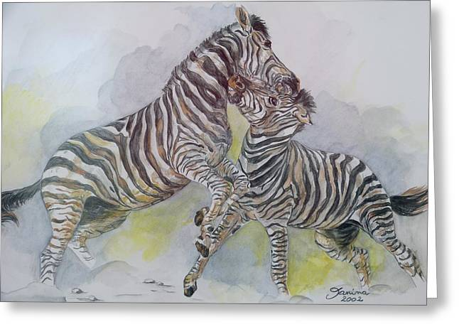 Janina Suuronen Art Greeting Cards - Zebras Greeting Card by Janina  Suuronen