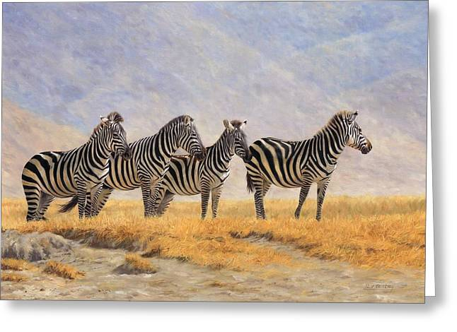 Zebra Greeting Cards - Zebras Ngorongoro Crater Greeting Card by David Stribbling