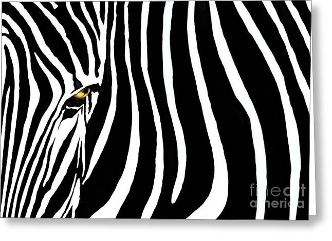 Striped Greeting Cards - Zebressence Greeting Card by Dan Holm