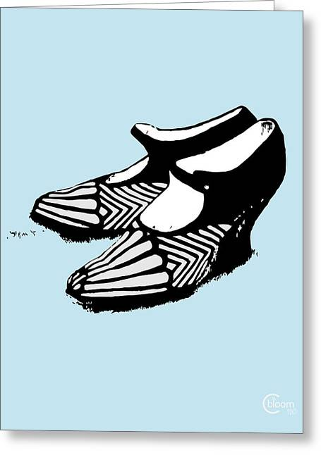 Nyc Posters Digital Art Greeting Cards - Zelda Fitzgeralds 1920 Flapper Shoes...robins egg blue Greeting Card by Cecely Bloom