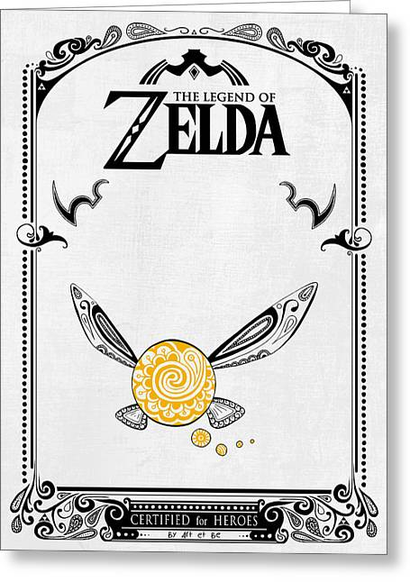 Video Game Life Greeting Cards - Zelda Legend - Fairy Navi doodle Greeting Card by Art Et Be