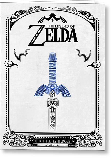 Video Game Life Greeting Cards - Zelda Legend - Sword doodle Greeting Card by Art Et Be