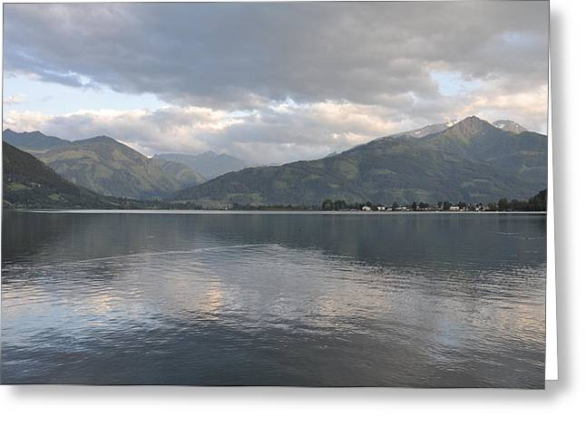 Silence Pyrography Greeting Cards - Zell am see lake Greeting Card by Amal Feda