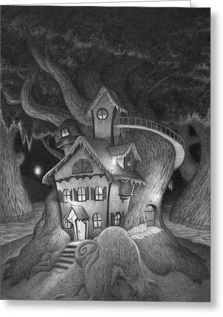 Swamp Drawings Greeting Cards - Zelmas House Greeting Card by Richard Moore