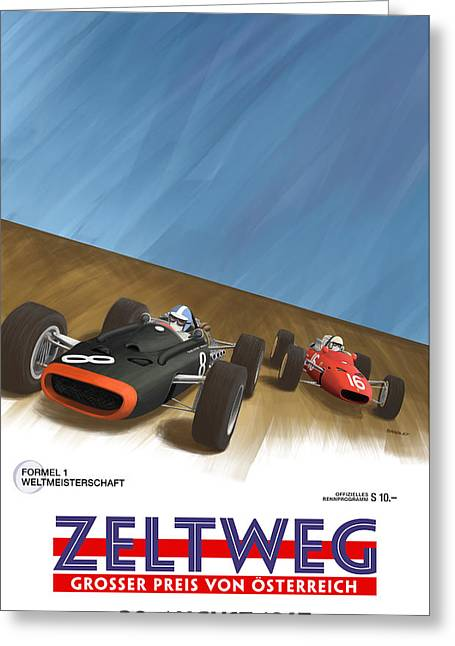 Rally Greeting Cards - Zeltweg Austria 1967 Grand Prix Greeting Card by Nomad Art And  Design
