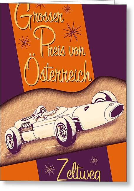 Rally Greeting Cards - Zeltweg Austria Formula One Grand Prix 1964 Greeting Card by Nomad Art And  Design