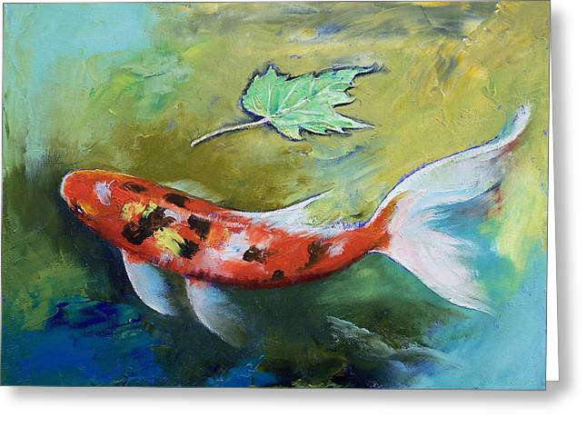 Butterfly Koi Greeting Cards - Zen Butterfly Koi Greeting Card by Michael Creese