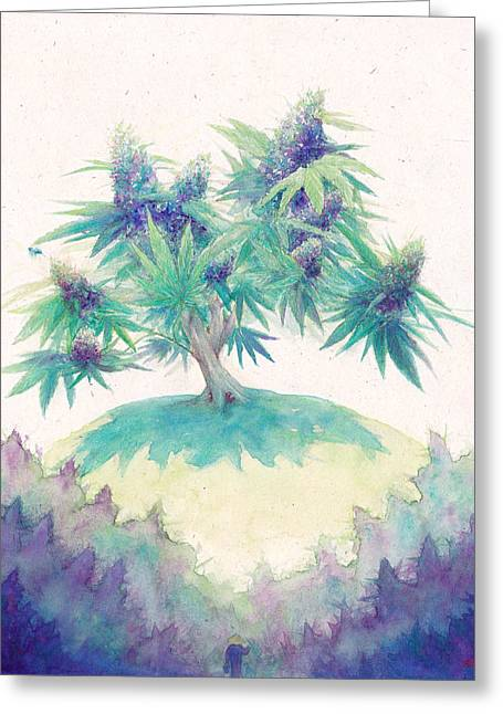 Weed Pastels Greeting Cards - Zen Cannabis Greeting Card by Raymond L Warfield jr