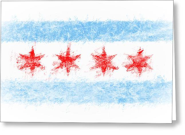 Zen Chicago Flag Greeting Card by Daniel Hagerman