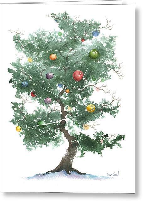 Zen Christmas Tree Greeting Card by Sean Seal
