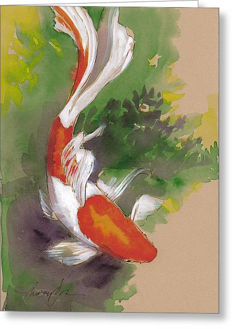 Goldfish Mixed Media Greeting Cards - Zen Comet Goldfish Greeting Card by Tracie Thompson
