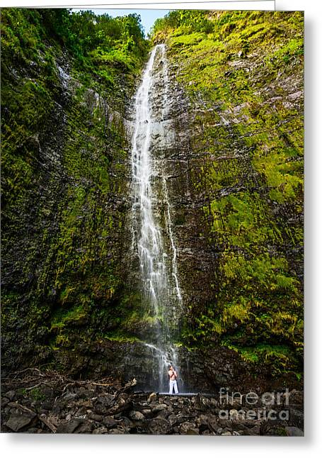 Large Scale Greeting Cards - Zen Falls Greeting Card by Jamie Pham